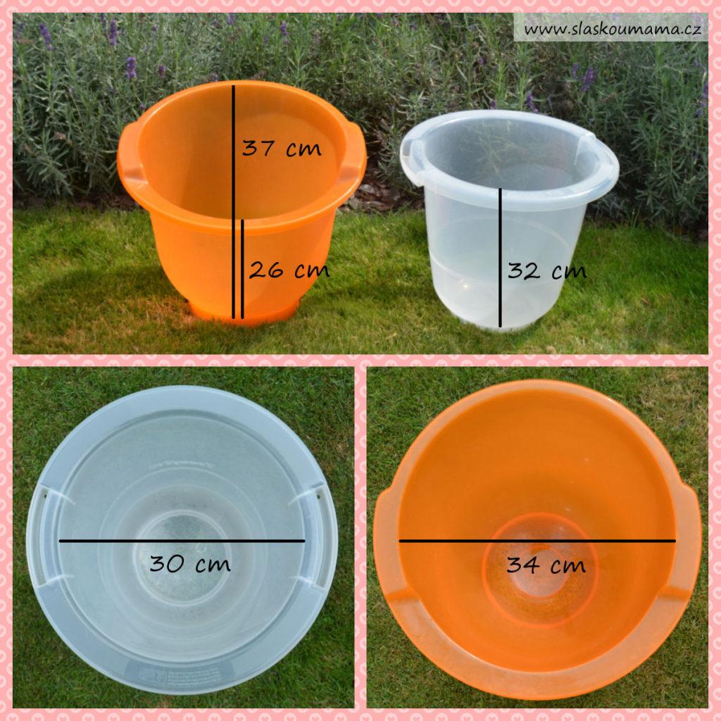 Porovnání jednotlivých rozměrů koupacích kyblíků Tummy Tub a Shantala Baby.