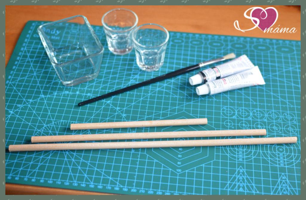 Příprava na barvení tyček Munari mobilu