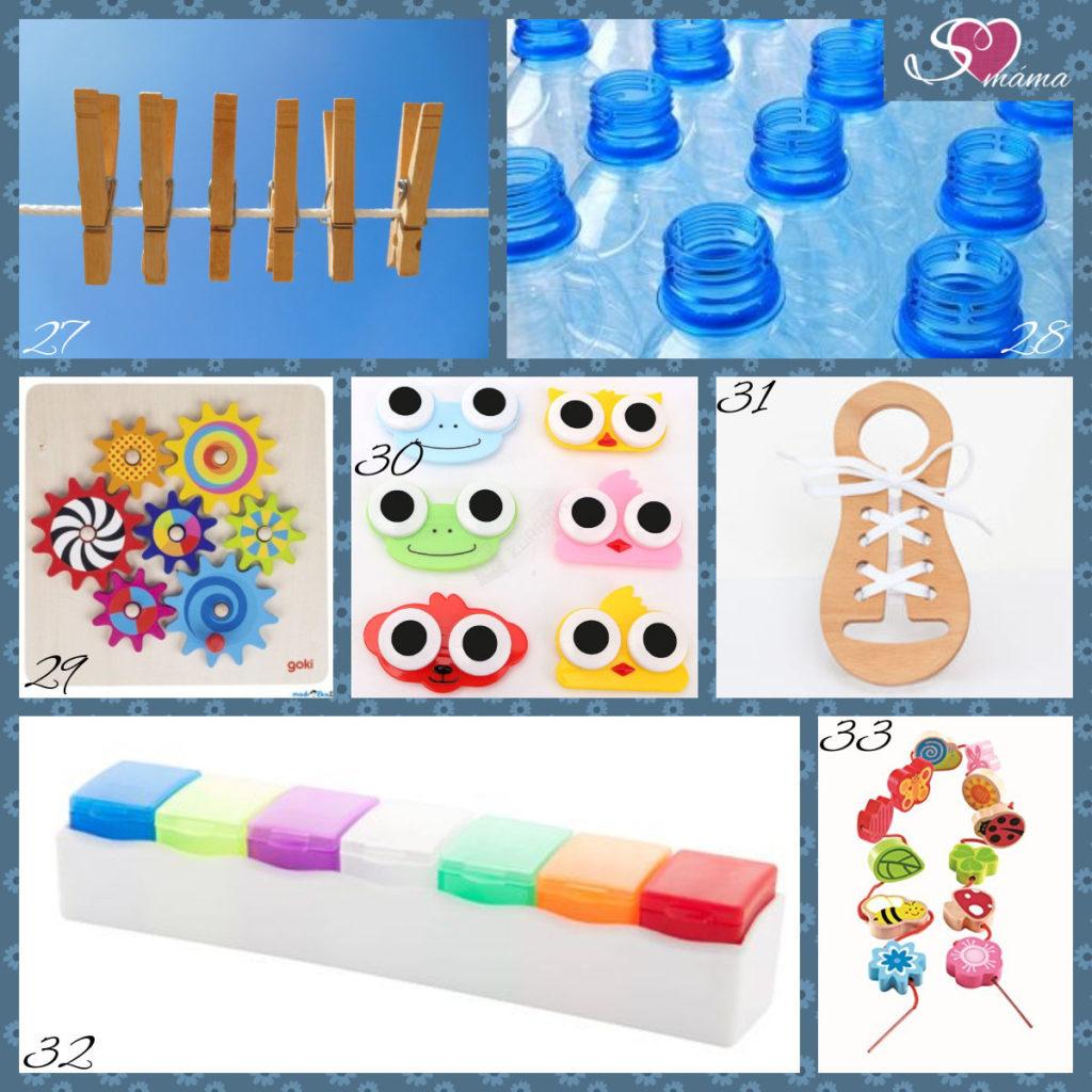 27 - kolíčky, 28 - PET lahve s uzávěry (resp. jejich vrchní část), 29 - dřevěná ozubená kolečka, 30 - pouzdro na kontaktní čočky, 31 - učící šněrovací botičky (vystačíte si i s deseti samořeznými očky a stužkou), 32 - box na léky (vezměte spíše větší), 33 - dřevěné korálky (navlečte na šňůrku s připevněnými konci)
