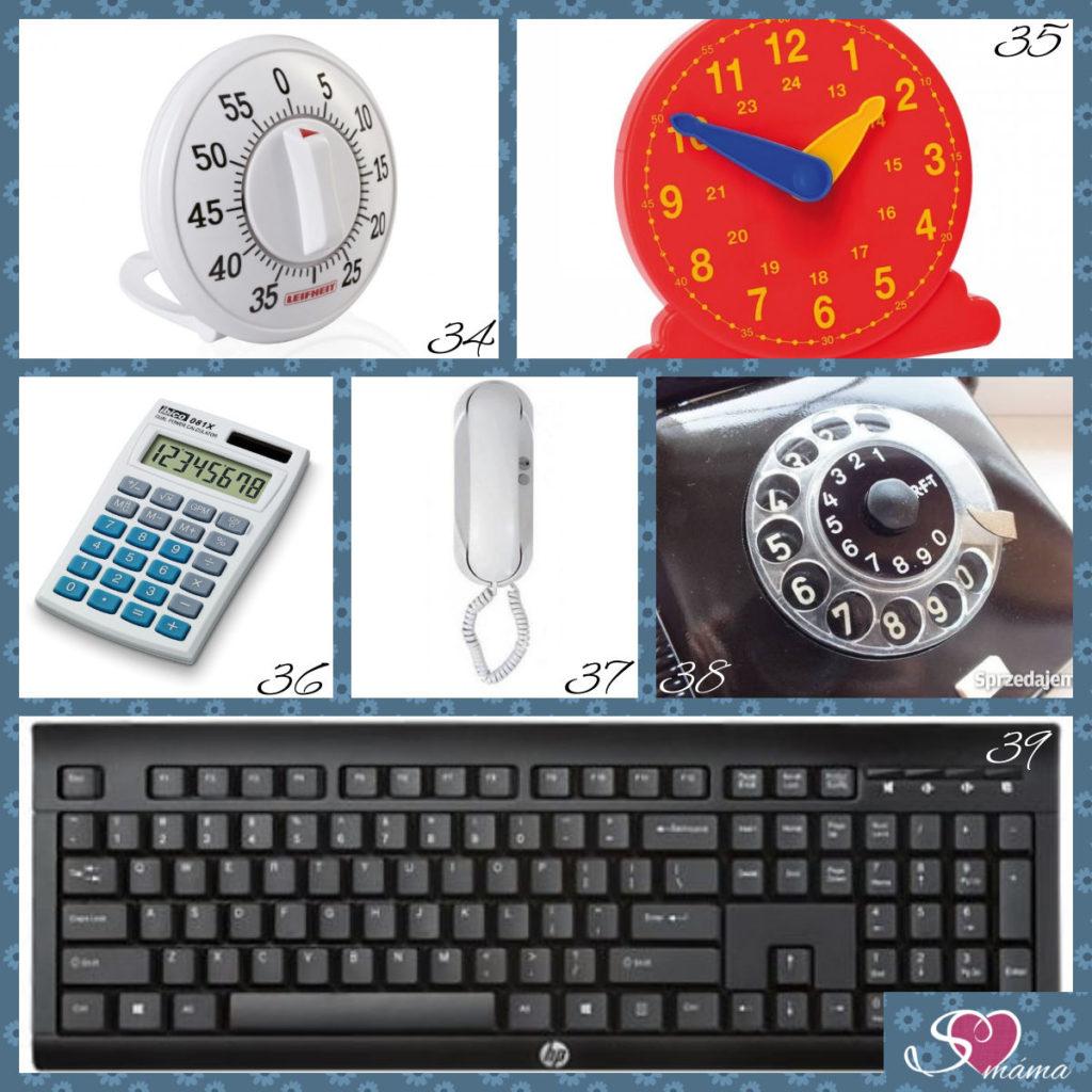 34 - kuchyňská minutka, 35 - cvičné hodiny, 36 - kalkulačka, 37 - domácí telefon (může být i klasický závěsný), 38 - otočný číselník z telefonu, 39 - klávesnice