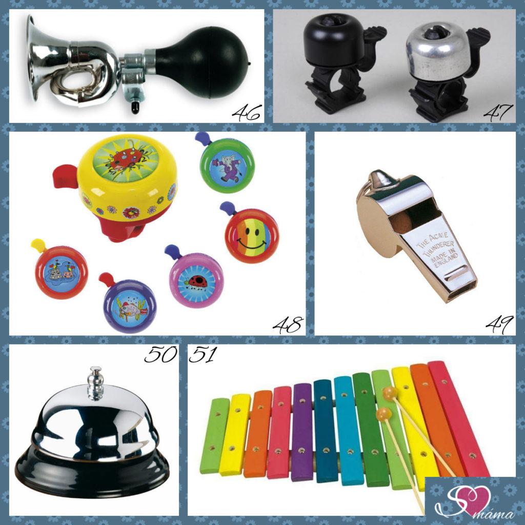 46 - klakson na kolo, 47 - zvonek na kolo, 48 - klasický zvonek na kolo, 49 - píšťalka, 50 - recepční zvonek, 51 - xylofon