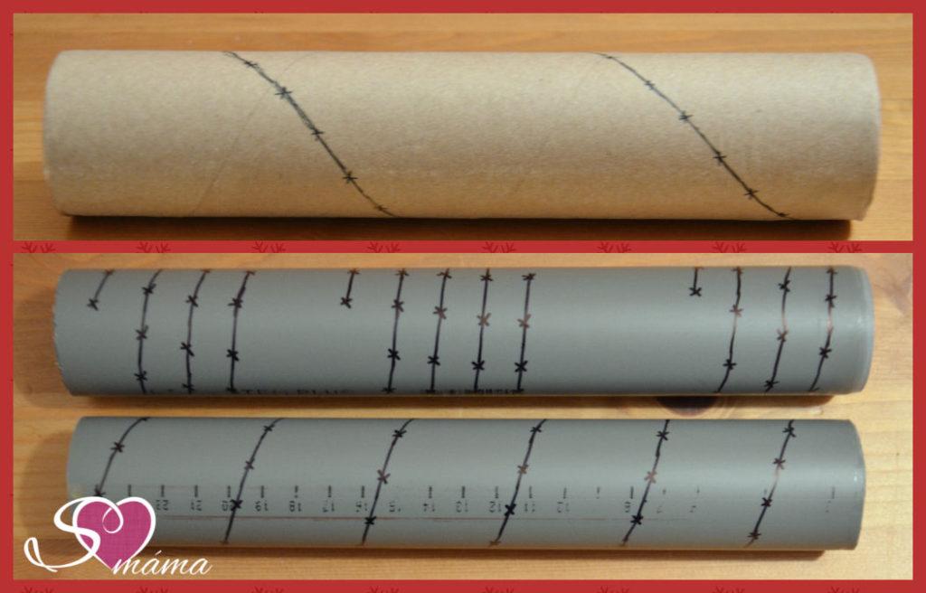Dešťová hůl - Předkreslení spirál a bodů pro hřebíčky