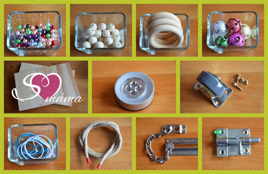 Naše příprava na activity board: perličky, dřevěné korálky, dřevěné kroužky, rolničky, dřevěné prkénko, světlo na baterky, kolečko, gumičky, provaz, bezpečnostní řetízek a petlice.